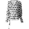 POLKA DOT V-NECK BLOUSE - Shirts - $49.97