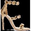 PRADA Scalloped metallic leather sandals - サンダル -
