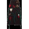PRADA  Silk-flower appliqué A-line wool - Spudnice -