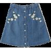 Pasa Boho Fleurs Denim Skirt - Skirts - $34.00
