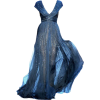 Patra silk sequin mightnight blue gown - sukienki -