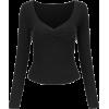 Peach Heart Collar Pleated Soft Long Sle - Srajce - dolge - $29.99  ~ 25.76€