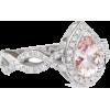 Pear Morganite Halo Engagement Ring Whit - Rings -