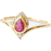 Pear Ruby Engagement Ring, Pear Ruby & D - Anillos -
