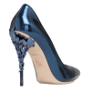 Petrol Blue Metallic Calf Leather with B - Classic shoes & Pumps -