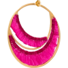 Pink Brass And Thread Hoop Earrings - イヤリング -