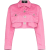 Pink Cropped Denim Jacket - Jakne in plašči -