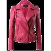 Pink Leather Quilted Zip Up Biker Moto J - Jacket - coats - $150.00