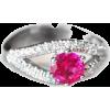 Pink Tourmaline Ring, 14K White Gold Rin - Anillos -