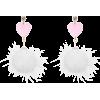 Pink. White. Heart. - Earrings -