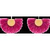 Pink Wool Fan Earrings - Brincos -