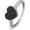 Platinum Plated Sterling Silver Round Diamond Black And White Heart Ring (1/4 cttw) - Rings - $99.00  ~ £75.24