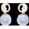 Poppy white pearl & baby blue sterling s - Uhani -