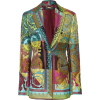 Printed Silk Single Button Blazer - Jacket - coats -