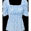 Printed waist shirt retro square neck pu - Hemden - kurz - $26.99  ~ 23.18€