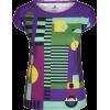 Purple Geometric Print Slim Fit Tee - T-shirts - $46.00