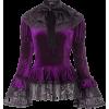Purple Gothic Victorian Velvet Lace Top - Shirts -