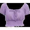 Purple Knitted High Waist Lace Top Women's Navel Summer Lantern Sleeve T-Shirt - Shirts - $25.99