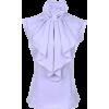 Purple Ruffle Collar Blouse - Shirts -