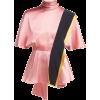 ROKSANDA  Contrast-panel draped silk top - Koszule - krótkie -
