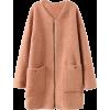 ROMWE | Loose Zippered Camel Woolen Coat - Jacket - coats -
