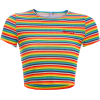 Rainbow Striped Embroidered Print Short - Shirts - $19.99