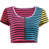 Rainbow zipper striped top - Srajce - kratke - $19.99  ~ 17.17€