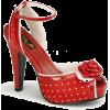 Red Satin Polka Dot Ankle Strap Platform Sandal - 9 - Sandalen - $44.20  ~ 37.96€