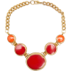 Red Bead Necklase Necklaces Red - Ogrlice -