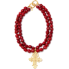 Red Bead Cross Necklace - Necklaces -