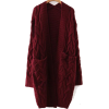 Red Cable Knit Front Pocket Long Sweater - Cardigan -