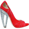 Red Embellished Heel Pumps - Sapatos clássicos -