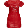 Red Faux Leather Bodycon Dress - Dresses -