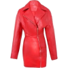 Red Faux Leather Midi Jacket Dress - Other -
