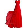 Red Formal Strapless Dress - Kleider -