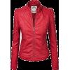 Red Leather Jacket - Jacket - coats -