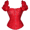Red Ruched Sleeve Bustier - Coletes -