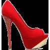 Red Suede Platform Heels - Klassische Schuhe -