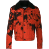 Red and Black Tie Dye Denim Jacket - アウター -