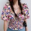 Retro Butterfly Girl Square Collar Puff Sleeve Waist Short Sleeve Shirt Top - Shirts - $26.99