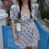 Retro oil painting floral floral square collar puff sleeve waist dress - Dresses - $28.99