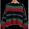 Retro wild loose striped colorblock pull - Pullovers - $45.99