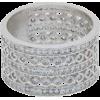 Rhodium Clad Simulated Diamond 5-row Wid - Rings - $53.00