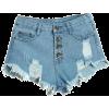 Ripped Denim Shorts - Shorts -