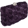 Romantic Rose Rosette Sheer Satin Hard Case Baguette Evening Clutch Purse w/Detachable Chain Purple - Hand bag - $39.99