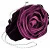 Romantic Rosette Rose Evening Handbag, Clasp Purse Clutch w/Hidden Chain Purple - Hand bag - $31.99