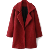 Romwe Color Block Red Woolen coat - Jacket - coats -