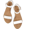Romwe Scalloped Trim Flat Sandals White - Sandals - $14.59