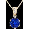 Round Blue Sapphire Pendant - Necklaces - $4,509.00
