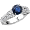 Round Sapphire Antique Ring - Rings - $2,019.00